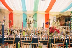 Colorful, ribbon filled Trudder Lodge Wedding by Siobhan Byrne | see all the fun at www.onefabday.com Lodge Wedding, Lodges, Cottages
