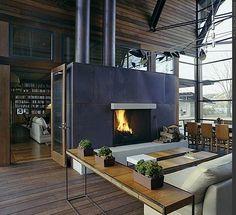 Great loft fireplace. Emma loves. #fireplace #openspace