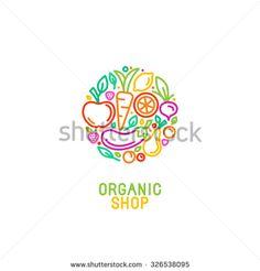 Vector logo design template with fruit and vegetable icons in trendy linear style - abstract emblem for organic shop, healthy food store or vegetarian cafe - stock vector