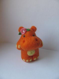 Orange need felted hippo by novembrin $24