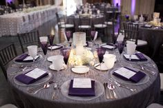 Purple & Silver linens & white Rosette Linnen on long tables. So elegant      Halisi and Dennis Izehi Photography-66