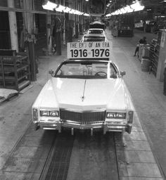 The last 1976 Bicentennial Eldorado, number 14,000, on the assembly line at the Clark Street Fleetwood plant.
