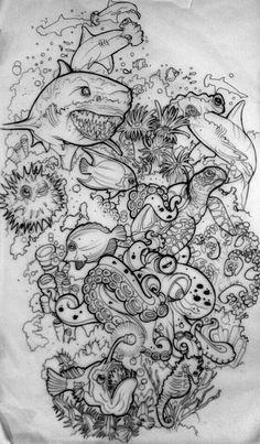 new Ideas painting sea animals inspiration Tattoo Sketches, Tattoo Drawings, Body Art Tattoos, Art Sketches, Art Drawings, Ocean Sleeve Tattoos, Hai Tattoo, Octopus Tattoos, Arte Sketchbook