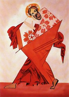 """Natalia Goncharova - Costume designs for the ballet """"Liturgia"""", 1915  And there is another key person of Russian avant-garde. She is still the most expensive female artist at auctions.  You see that avant-gard Orthodoxy? That was common for many Russian avant-gard artists - they tried to rediscover and renovate some ancient, even medieval Russian traditions. Such as icon-painting, folk art, lubock and so on.  By the way, Malevich's """"Black Square"""" is an icon - something I can call """"icon 2.0""""…"""