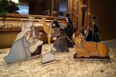 Hand crafted stained glass nativity