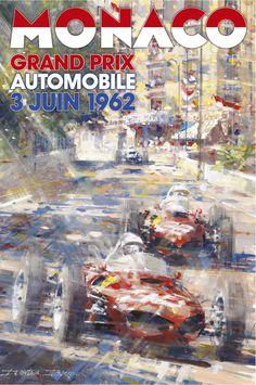 PEL223: '1962 Monaco Grand Prix' by Dexter Brown - Vintage car posters - Art Deco - Pullman Editions - Ferrari