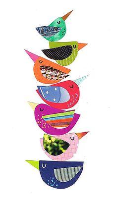 Bird Gathering Birdy Totem of cuteness. - cute idea for a Bird Mobile! Bird Gathering Birdy Totem of Vogel Quilt, Art Du Collage, Kids Collage, Collage Ideas, Wall Collage, Bird Mobile, Bird Quilt, Paper Birds, Inspiration Art
