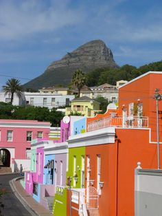 colourful buildings at Bo-Kaap, Cape Town, Africa. Beyond Paint, Colourful Buildings, Colorful Houses, Cape Town South Africa, Africa Travel, Oh The Places You'll Go, Destinations, House Colors, Beautiful Places