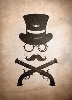 retro steampunk tophat moustache classic guns cowboy