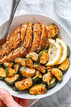 Asado Chicken and Sautéed Lemon Zucchini - - Juicy and flavorful, this healthy chicken recipe is perfect for summer BBQ, memorial day cookout or any weeknight dinner. - by dinner recipes healthy Asado Chicken and Sauteed Lemon Zucchini Zucchini Dinner Recipes, Healthy Chicken Dinner, Healthy Dinner Recipes, Healthy Snacks, Healthy Lemon Recipes, Healthy Drinks, Healthy Recipes With Chicken, Clean Eating Dinner Recipes, Breakfast Recipes