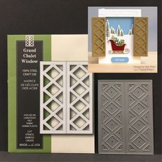 GRAND CHALET WINDOW metal die Poppy Stamps dies lattice,shutters,all occasion #MemoryBox