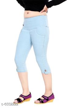 Capris Stylish Women Stretchable Denim Capries  Fabric: Stretchable Denim Pattern: Solid Multipack: 1 Sizes: 34 (Waist Size: 34 in Length Size: Up to 27 in) 36 (Waist Size: 36 in Length Size: Up to 27 in) 38 (Waist Size: 38 in Length Size: Up to 27 in) 28 (Waist Size: 28 in Length Size:Up to 27 in) 40 (Waist Size: 40 in Length Size:Up to 27 in) 30 (Waist Size: 30 in Length Size: Up to 27 in) 32 (Waist Size: 32 in Length Size: Up to 27 in) Country of Origin: India Sizes Available: 28, 30, 32, 34, 36, 38, 40   Catalog Rating: ★4.2 (395)  Catalog Name: Free Mask Classy Sensational Women Capris CatalogID_1043823 C79-SC1037 Code: 594-6552222-2031