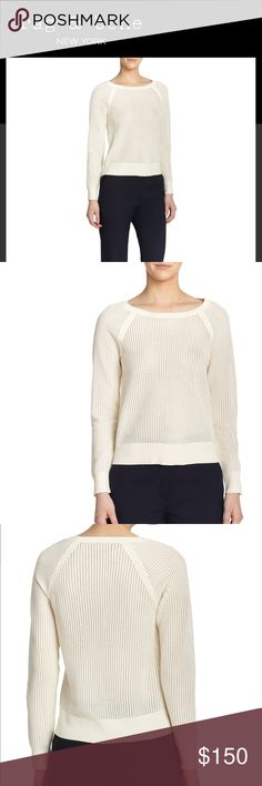"""Rag & Bone Shelby Perforated Pullover Vanilla Brand New Rag & Bone Women's Shelby Perforated Pullover . A graphic, perforated construction lends a sporty-chic air to this classic boatneck pullover. Bateau neckline. Raglan sleeves. Allover perforated detail. Pullover style. About 22"""" from shoulder to hem. Color: Vanilla Cream Size Large ***One of my favorite sweater & brought from Nordstrom just sitting in my closet looking pretty 😍 my lost your gain - I need the closet space*** See last pic…"""