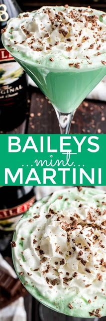 This Baileys Mint Martini is the ultimate combo! Creme de Menthe combined with Baileys Irish Cream in one delicious cocktail. If you love Baileys, you can't go wrong with this delicious Baileys Mint Martini.made with just 4 ingredients! Martini Recipes, Drinks Alcohol Recipes, Yummy Drinks, Cocktail Recipes, Alcoholic Drinks, Beverages, Drink Recipes, Dessert Recipes, Baileys Irish Cream