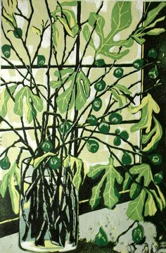 Figs relief linocut original print by LisaVanMeter on Etsy, $165.00