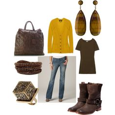 mustard yellow and brown