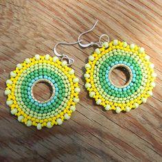 Green and Yellow Hoop Seed Bead Earrings - Circular earrings, summer jewelry, bohemian style. $15.00, via Etsy.