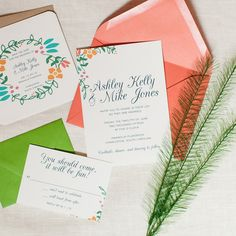 Modern Floral Wedding Invitation Colorful Flowers Invite