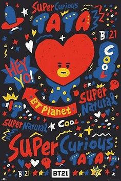 It's super cute TATA from BT Planet! - Brand New Poster - Measures 22 x 34 inches - Ships rolled and wrapped in original plastic Posters are shipped next day in a mailing tube via USPS First Class Mail for FREE. Army Wallpaper, Cartoon Wallpaper, Bts Wallpaper, Lines Wallpaper, Bts Taehyung, Bts Jimin, Hyuna Photoshoot, Foto Rap Monster Bts, Friends Poster