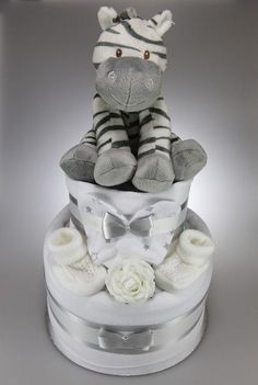 Pin this Child Boy or Woman Unisex Single or Two Tier Impartial Nappy Cake with Lovable Plush Zebra