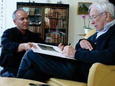 Photo of the artist, Modhir Ahmed, with Swedish poet Tomas Transtromer