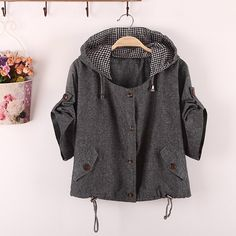 Sweet Style Hooded Neck Solid Color Plaid Button 1/2 Sleeve Coat For Women (DEEP GRAY,ONE SIZE) | Sammydress.com