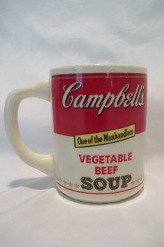 """RARE Campbell's Soup Advertising Coffee Cup Mug """"Vegetable Beef"""" """"One of the Manhandlers"""" Made in USA"""