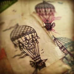 I really like the vintage feel of this and the line work is absolutely gorgeous. Beautiful hot air balloon tattoo idea