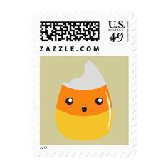 Bitten Emoji Candy Corn Postage Stamps - humor funny fun humour humorous gift idea