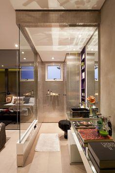 Sonho de consumo para muitos, os banheiros abertos para os quartos nem sempre resultam em soluções visualmente equilibradas (na minha modes...