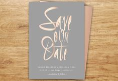 Calligraphy Save The Date Blush Gray Rose Gold by P27Creative