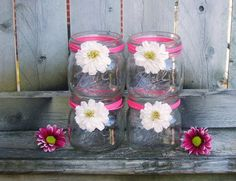 Mason Jars  / Wedding Candle Holder / by CarolesWeddingWhimsy, set of 4, Daisy Mason Jar  Wedding Candle Holders - Pink Jute or Natural Jute - Wide Mouthed So Perfect for a Floating Candle - You can find them here https://www.etsy.com/listing/127725358/mason-jars-wedding-candle-holder-rustic  https://www.etsy.com/shop/CarolesWeddingWhimsy https://www.facebook.com/CarolesWeddingWhimsy