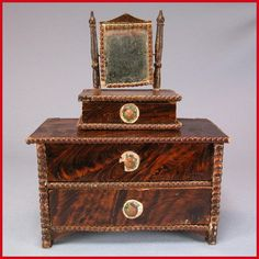 "Antique German Dollhouse Faux Grained Chest of Drawers and Shaving Stand 1840s – 1850s 1"" Scale"