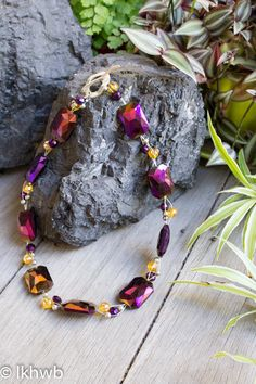 Necklace handmade with reclaimed vintage beads, OOAK, repurposed, upcycled, assemblage, purple, yellow, orange, gold, silver, wire by DoubleEweBee on Etsy