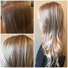 Top left is before. I did a super fine lowlight in foils using 4wg mixed w 6wg shadeseq at the base to about 4 inches down and melted 9gi into her ends in the foils. I balayaged mostly everything outside the foils. This gives a ton of dimension but allows her base to be present enough for a smooth transition growing out. The shades eq is ideal because of its translucency and ability to fade off over time  #redken @redken5thave @redkenofficial
