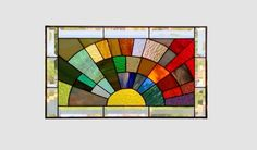 Stained glass panel window medium rainbow arch by SGHovel on Etsy