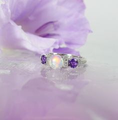 Natural Opal Ring, Opal Sterling Ring, Opal and Amethyst Ring, Sterling Silver Opal Ring by greengem on Etsy https://www.etsy.com/listing/252443923/natural-opal-ring-opal-sterling-ring