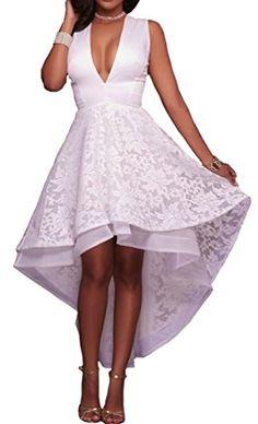 25cf4ee1e4 Pandapang Womens Deep V-Neck Sleeveless Lace Hi-Low Swing Party Midi Dress