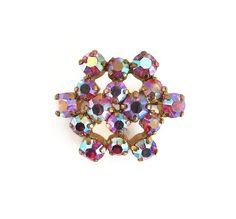 Pink Rhinestone Brooch, Aurora Borealis, Rhinestone Pin, Bridal Bouquet Pin, Vintage Brooch, Vintage Jewelry by zephyrvintage on Etsy