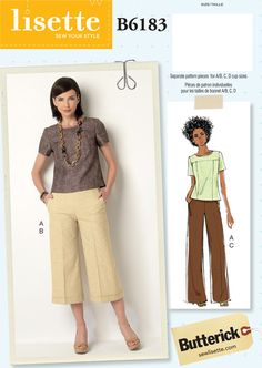 Butterick B6183 This semi-fitted, pull-on top has a jewel neck, princess seams, self-lined yokes, and an exposed-back zipper. The pattern comes with separate pieces for A/B, C, and D cup sizes.