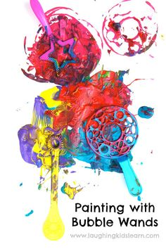 Painting and printing with bubble wands is fun and creative for kids of all ages.  Laughing Kids Learn