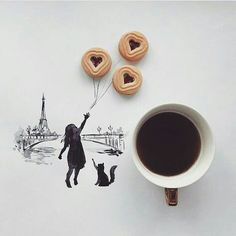 art & coffee  uploaded by Anna María on We Heart It