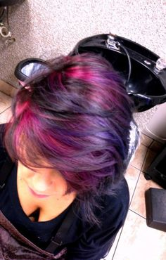 #Pink and #Purple #hair color I like this as a peek a boo
