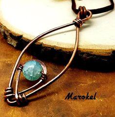 Aquamarine Goddess Necklace Copper Wire Hammered Metal Ice