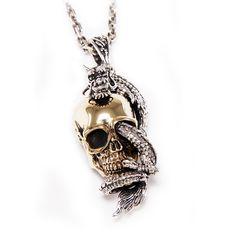 Dragon Skull/925 Sterling Silver Pendant/Dragon Pendant/Brass Skull Pendant/Cranium/Memento Mori/Silver Skull Pendant/Skull Charm gb-065 Skull Pendant, Dragon Pendant, Silver Skull Ring, Gothic Rings, Chains For Men, Memento Mori, Sterling Silver Pendants, Biker, Sketch