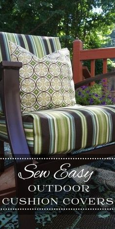 Sew Easy Outdoor Cushion Cover #diy #tutorial #patio #furniture