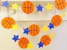 Basketball Garland Basketball Banner Basketball by Basketball Baby Shower, Basketball Birthday Parties, Sports Birthday, Sports Party, 10th Birthday, Birthday Menu, Birthday Boys, Happy Birthday, Basketball Decorations
