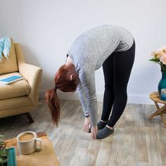 standing-toe-touch Relieve Gas Pains, Relieve Gas And Bloating, How To Relieve Stress, Trapped Gas, Gas Remedies, Passing Gas, Digestion Process, Knee Up