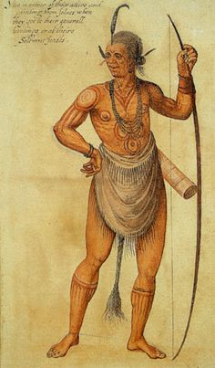 Algonquin Indian warrior with tatoos