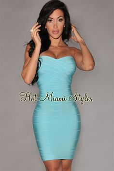 Aqua Strapless Bandage Dress